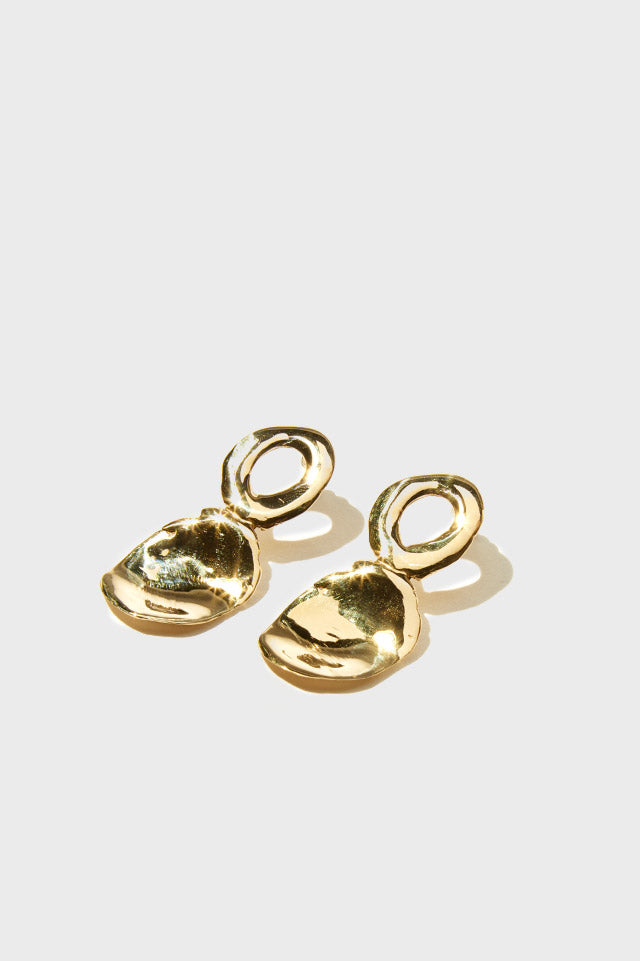 Bassin Earrings in Brass