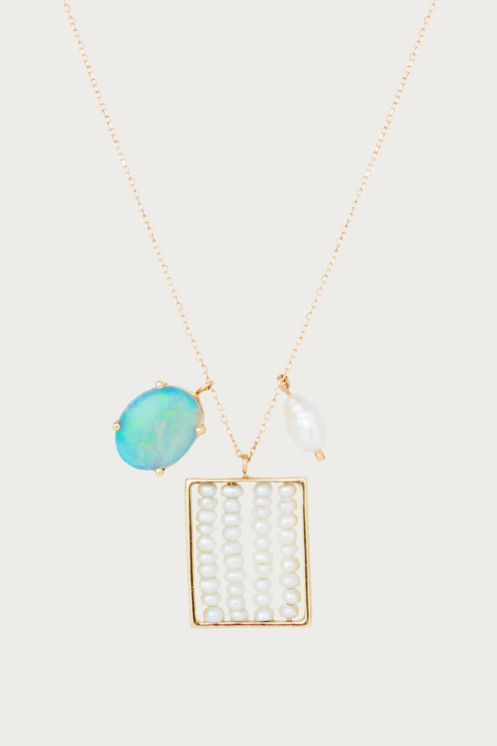 Pearl and Opal Charm Necklace