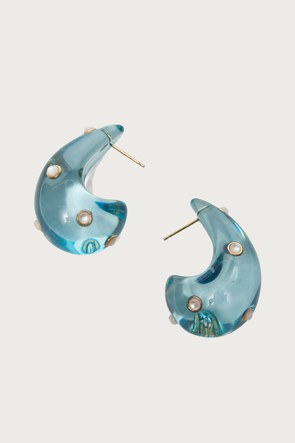 Arp Earrings in Aqua