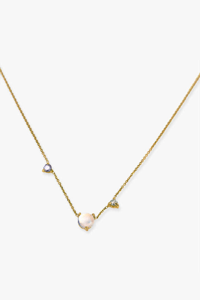 Three Step Moonstone Necklace in Gold
