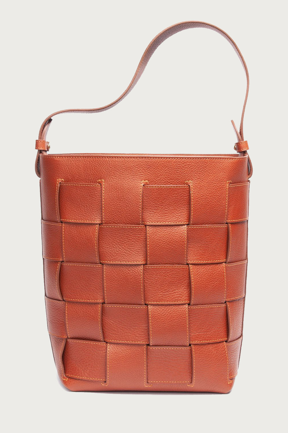 Lotuff Leather Woven Bucket Bag in Saddle Tan - Vert & Vogue
