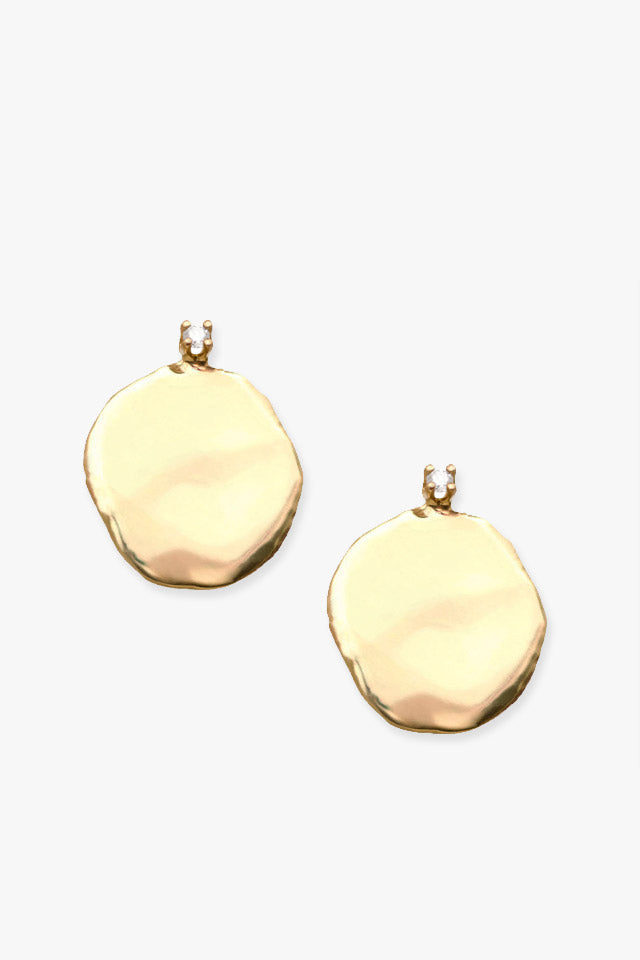 Wwake Extra Large Diamond Disc Stud in Gold - Vert & Vogue