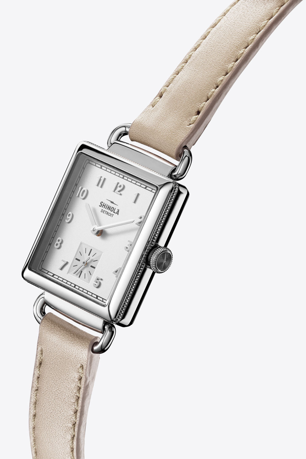 Cass Square 28mm Sub Second Watch in Milky White/Bone