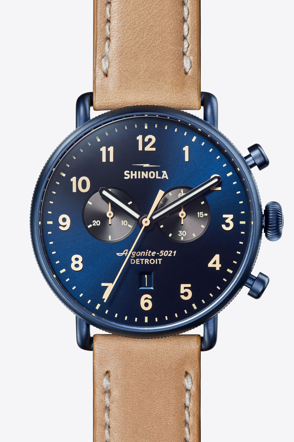 Canfield Chrono 43mm Watch in Midnight Blue/Natural