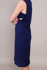 Sayaka Davis Side Cropped Dress in Navy - Vert & Vogue