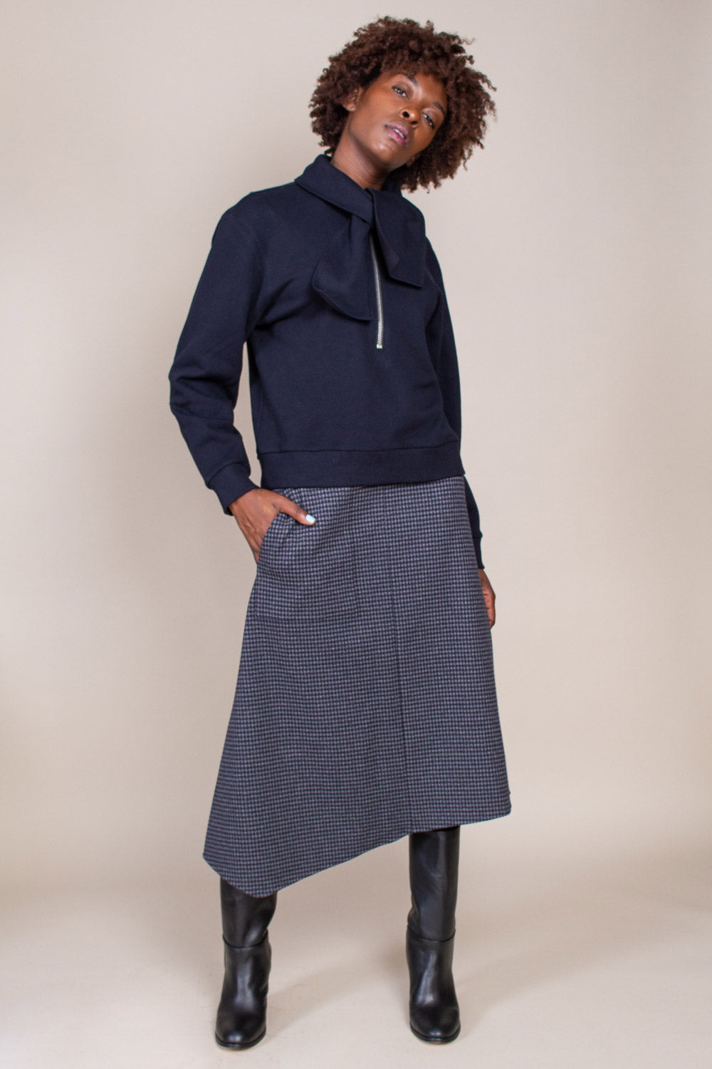 Camille Origami Wrap Skirt in Grey Check Multi