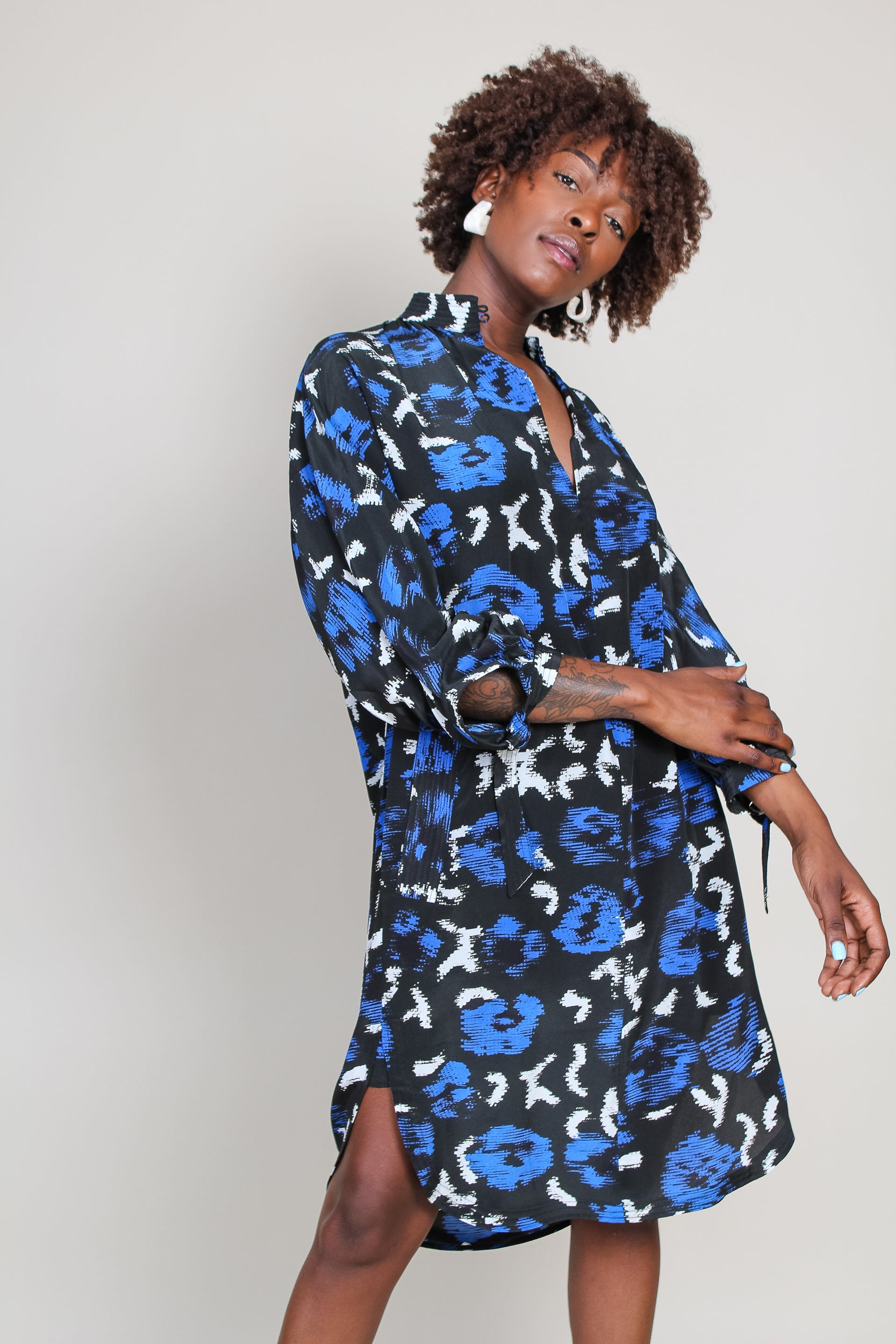 Danakai Shirt Dress in Peony Blue