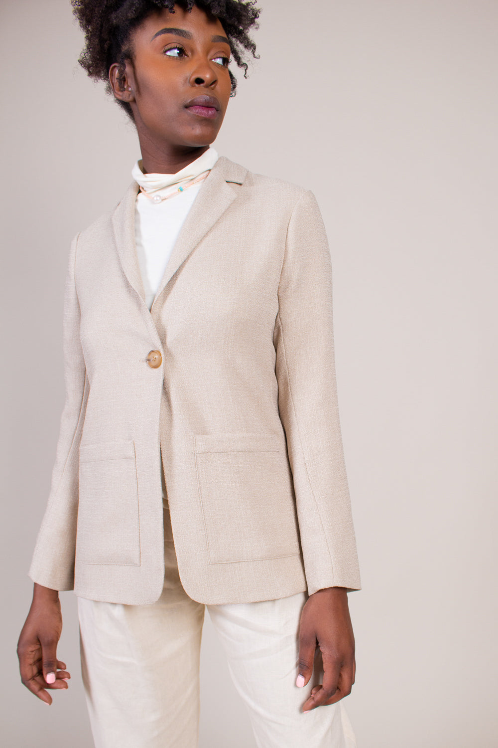 Grei One Button Suit Jacket in Khaki - Vert & Vogue