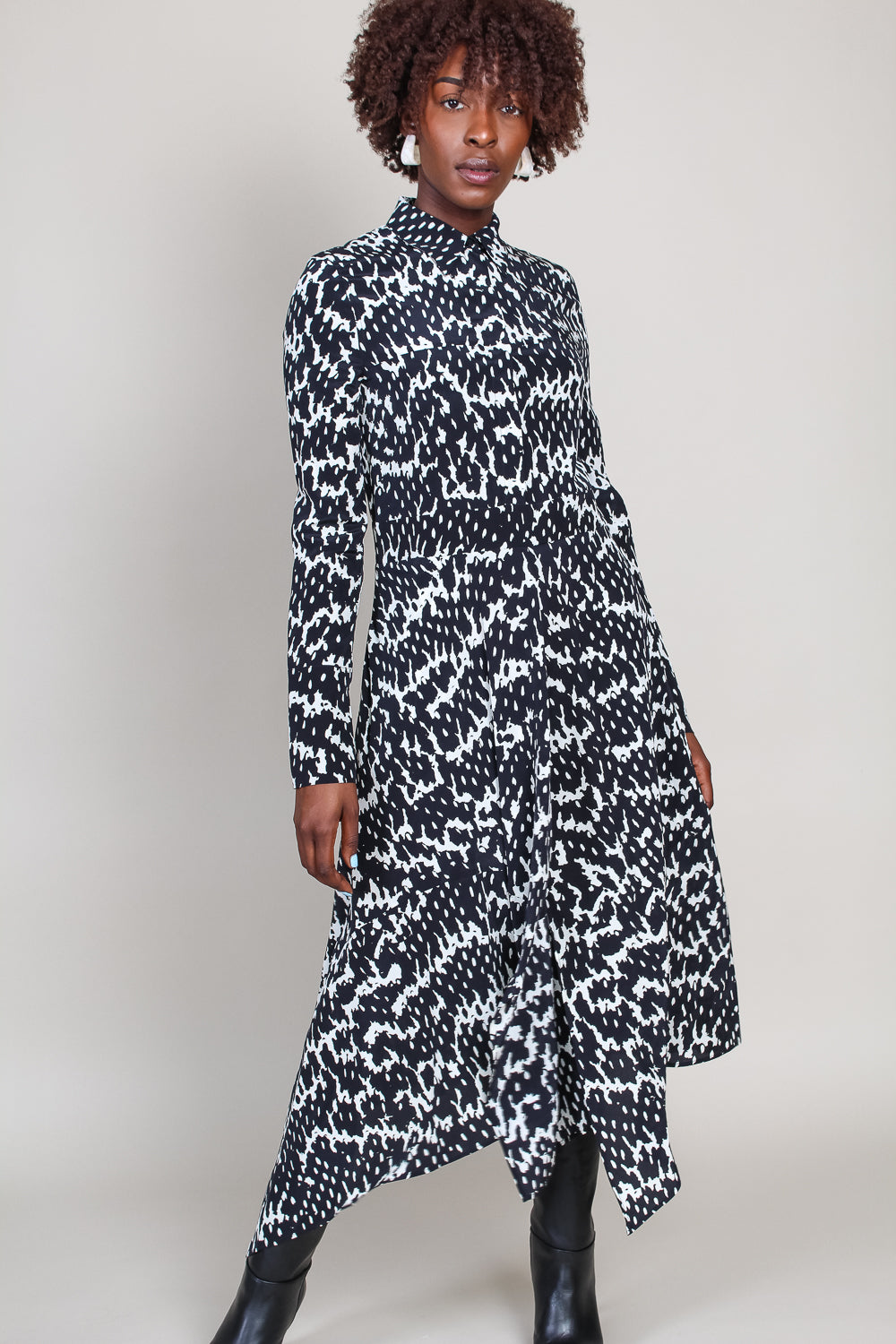 Dayita Shirt Dress in Black/White Python