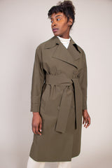 Harris Wharf London Oversized Trench Coat in Military Green - Vert & Vogue
