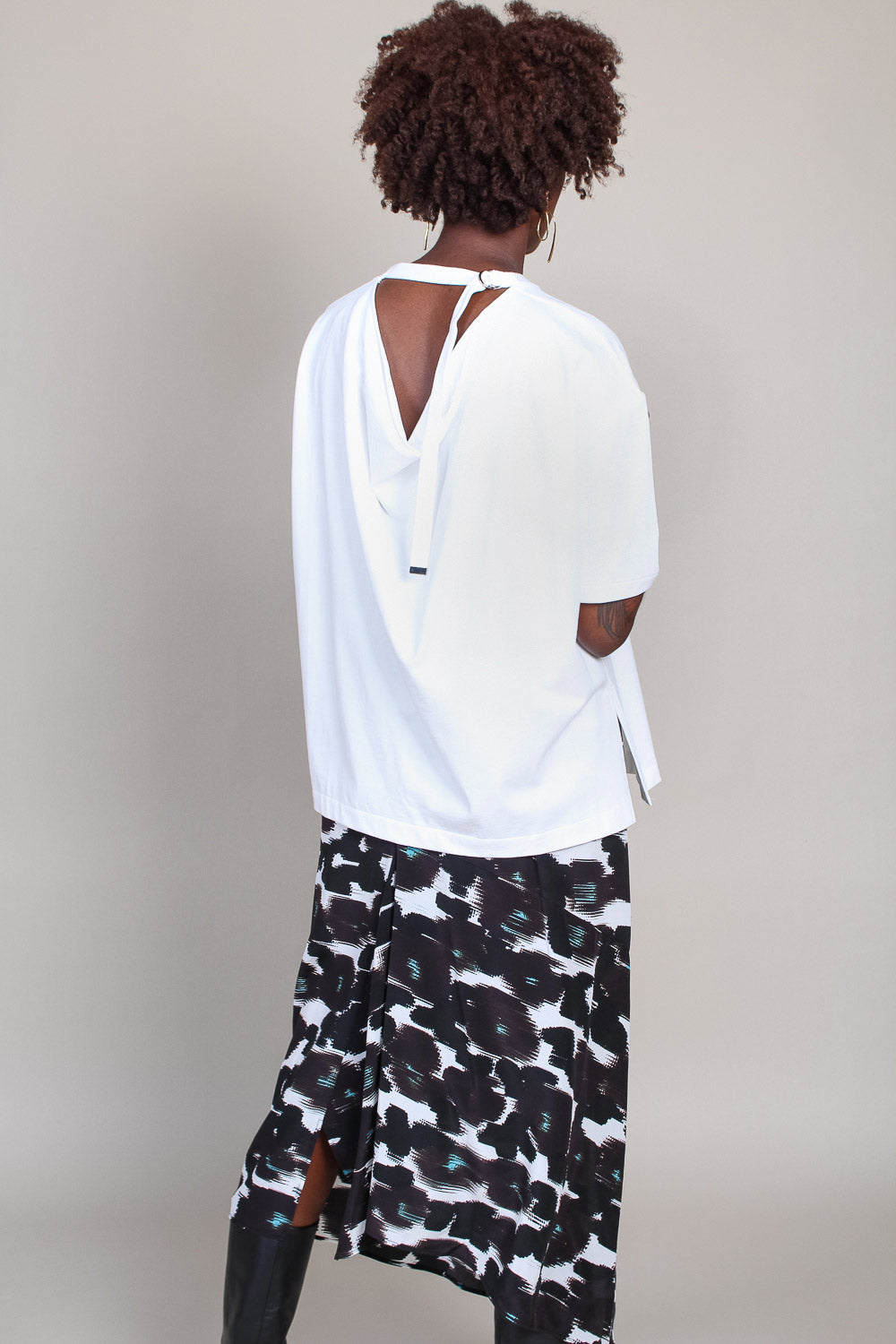 Draped Back Tee in White