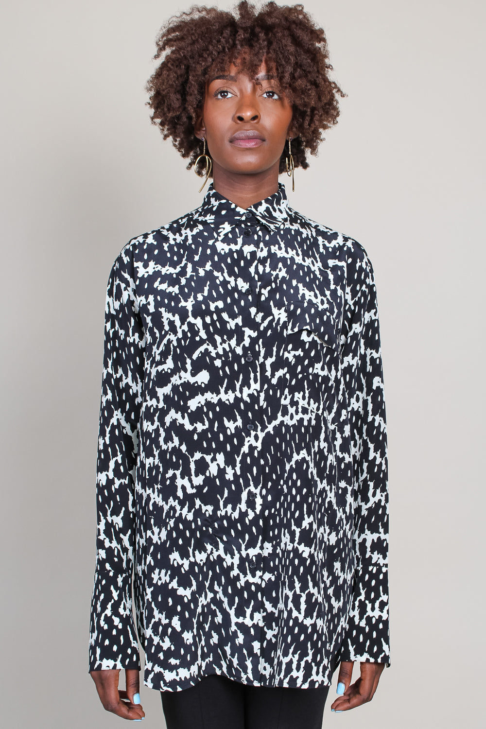Tumpet Shirt in Black/White Python