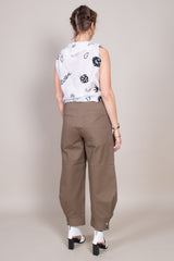 Tibi Myriam Twill Sculpted Pant in Utility Brown - Vert & Vogue