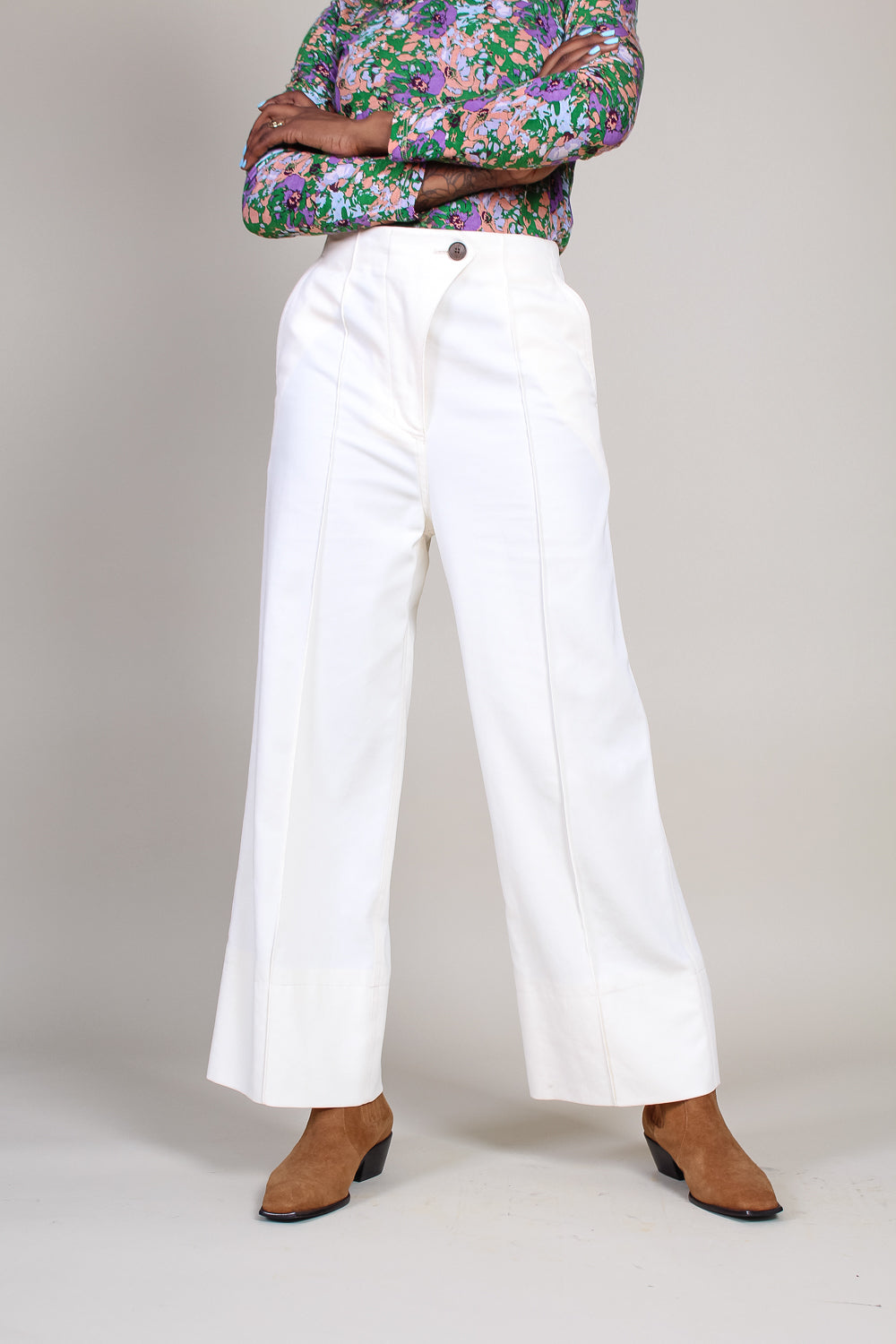 High Waisted Pants in Ecru