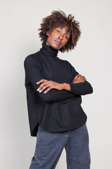 French Terry LS Turtleneck in Noir