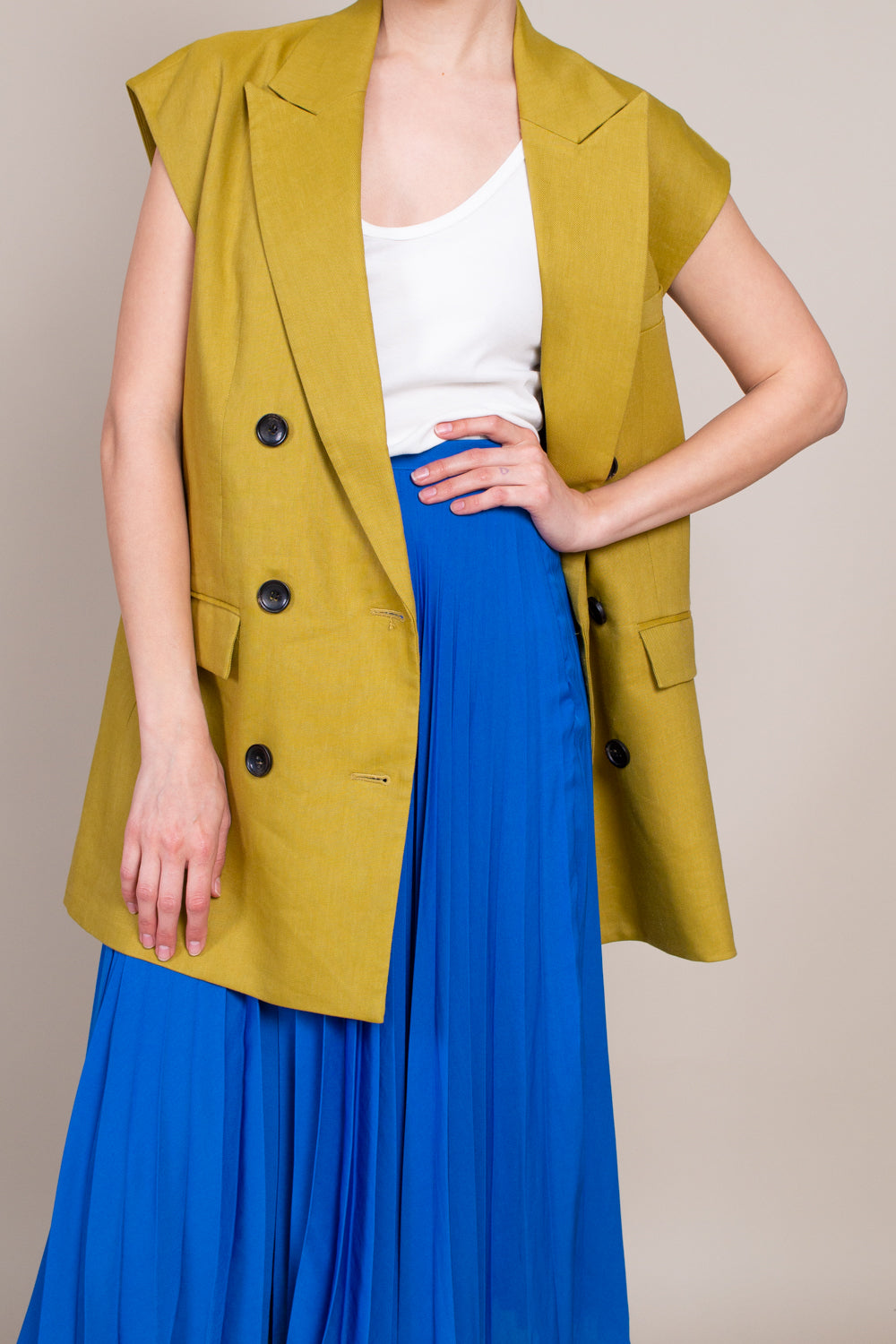 Tibi Wesson Vest in Tan Ochre - Vert & Vogue