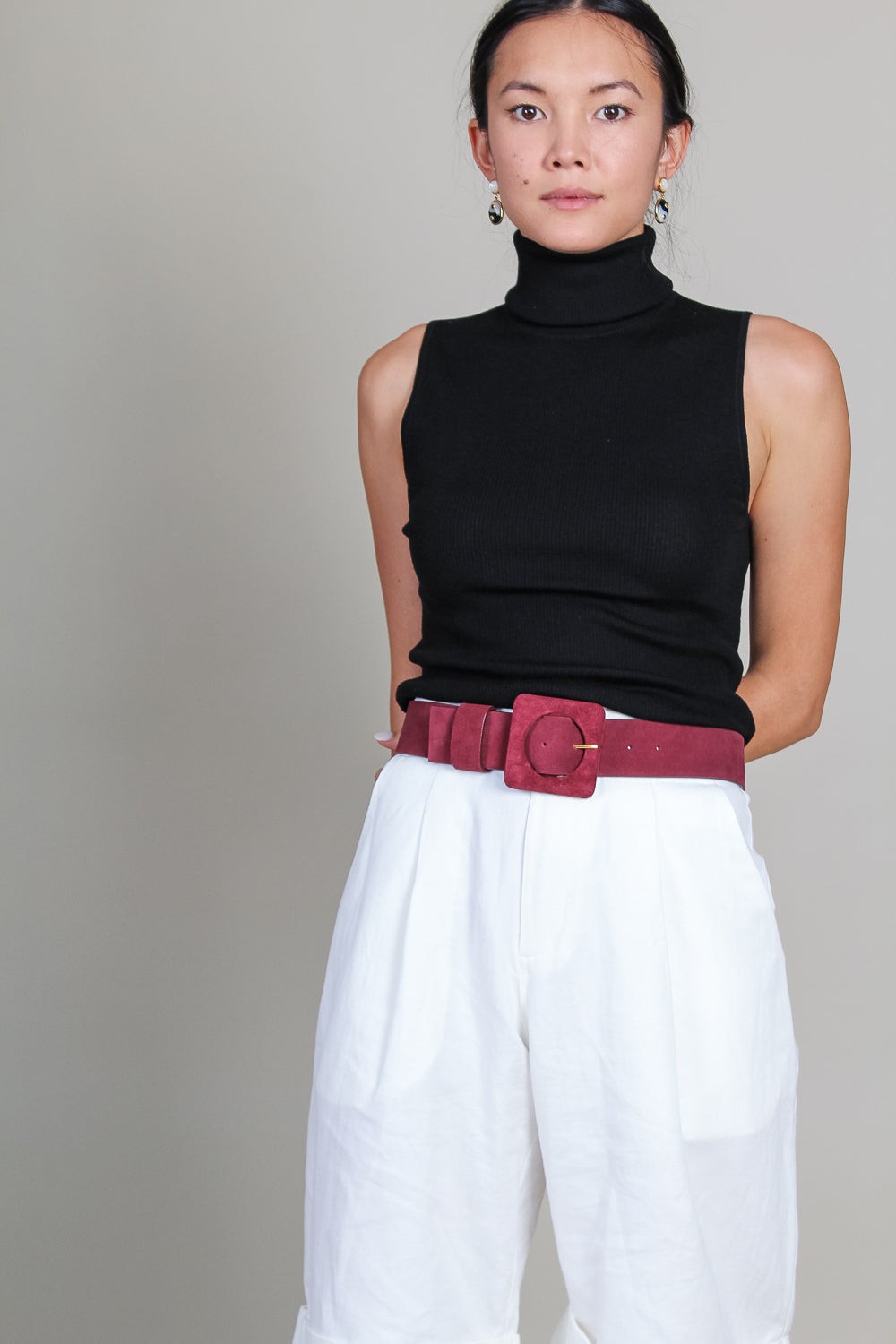 Agnes Belt in Burgundy