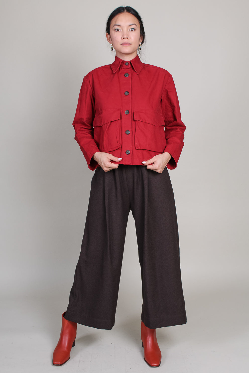 Wide Crop Pant in Espresso