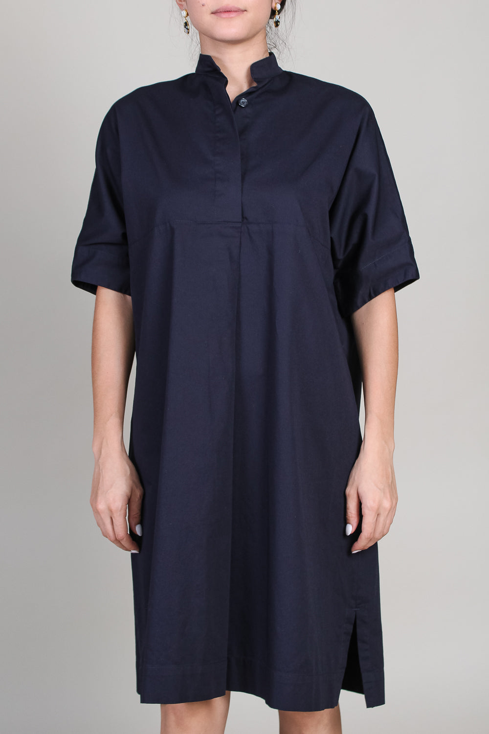 Banded Collar Shirt Dress in Ink