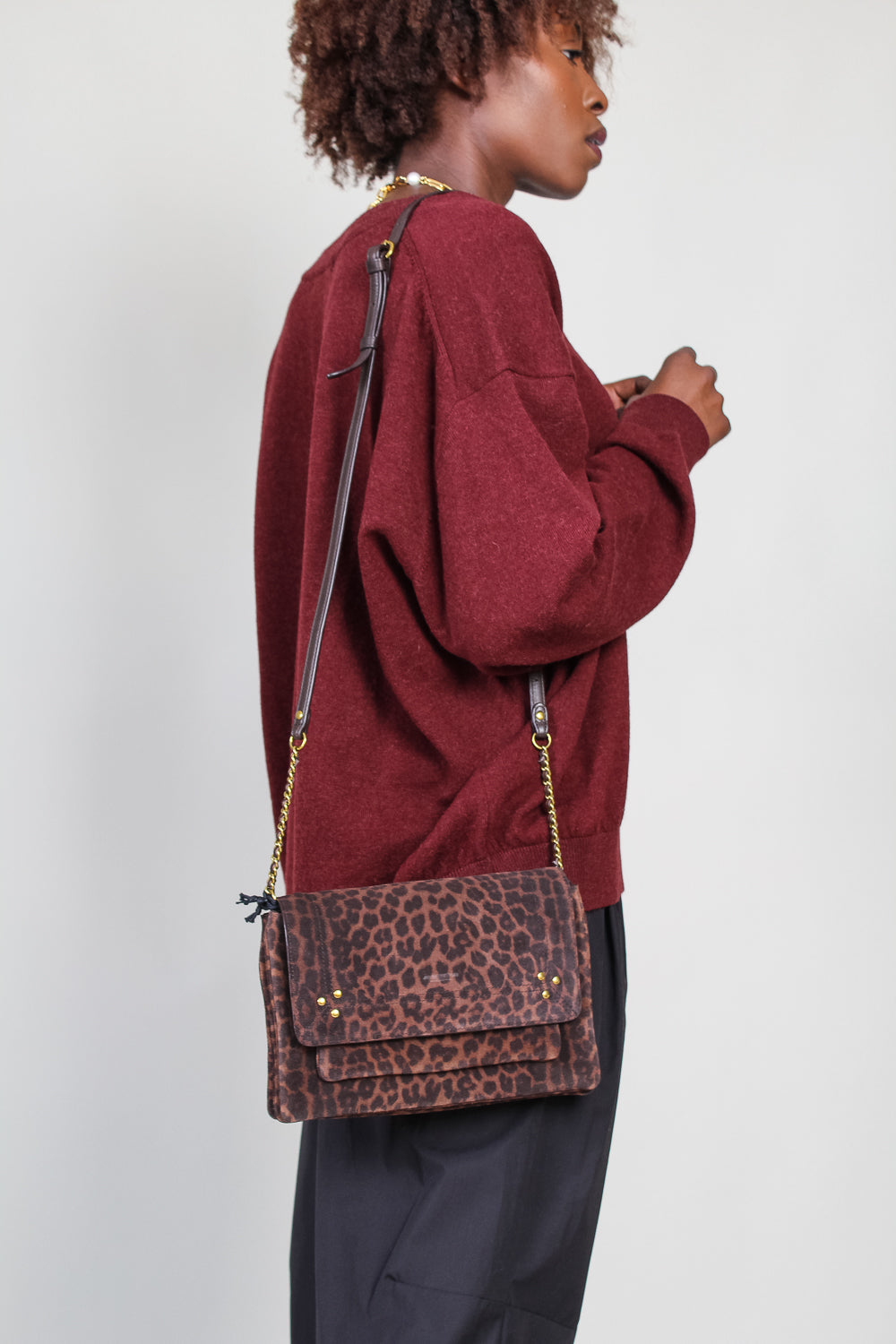 Medium Charley Crossbody Bag in Natural Leopard