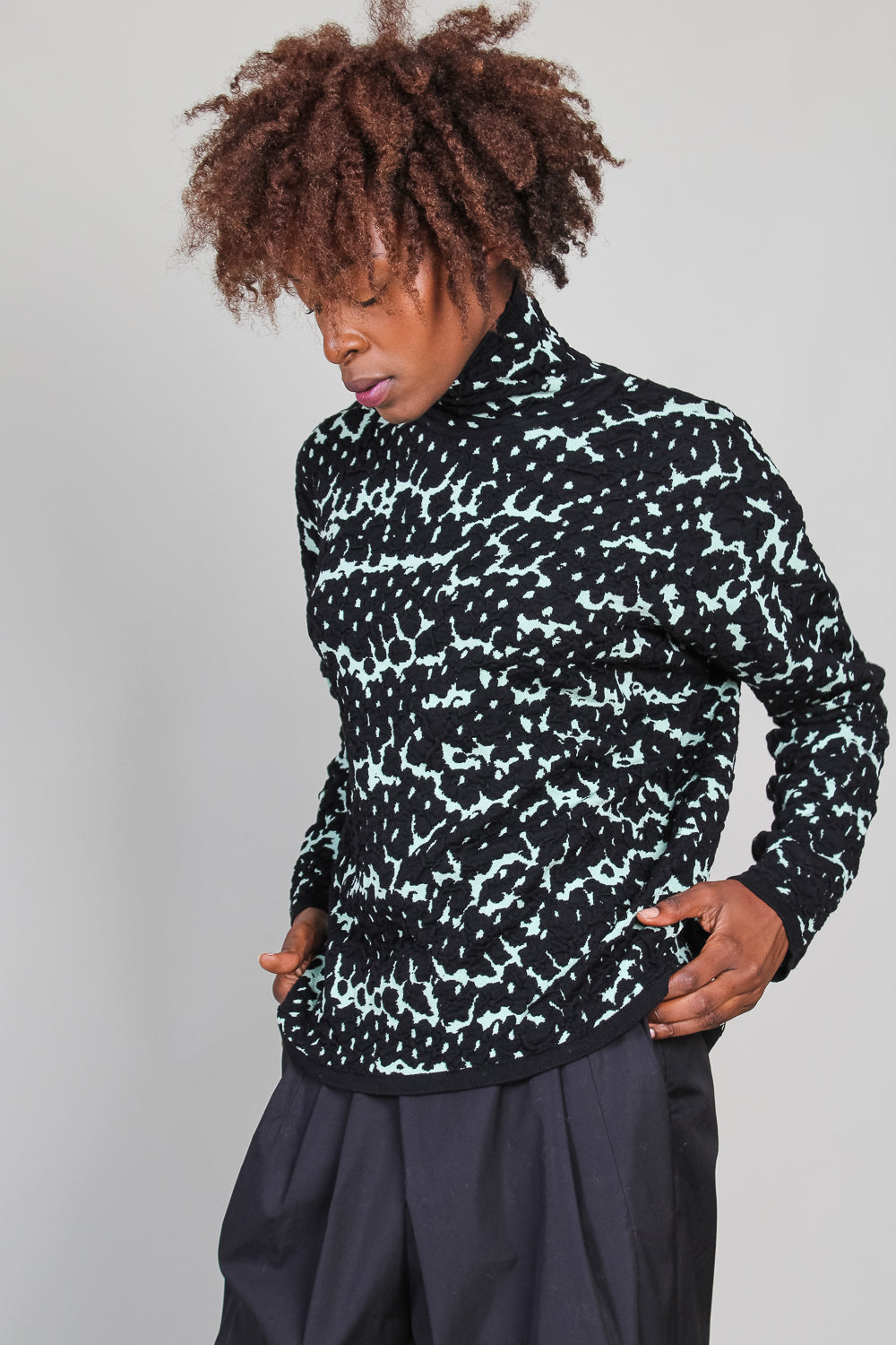 Khaji Turtleneck in Black/Mint Snake Jacquard