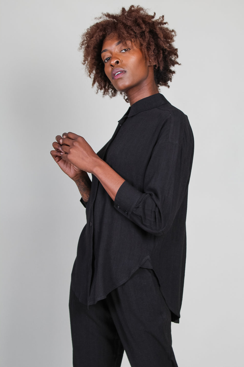 Signature Dolman Shirt in Black
