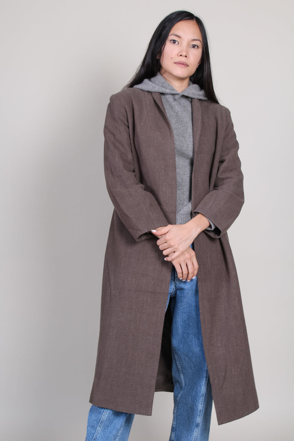 Signature Open Fall Coat in Olive