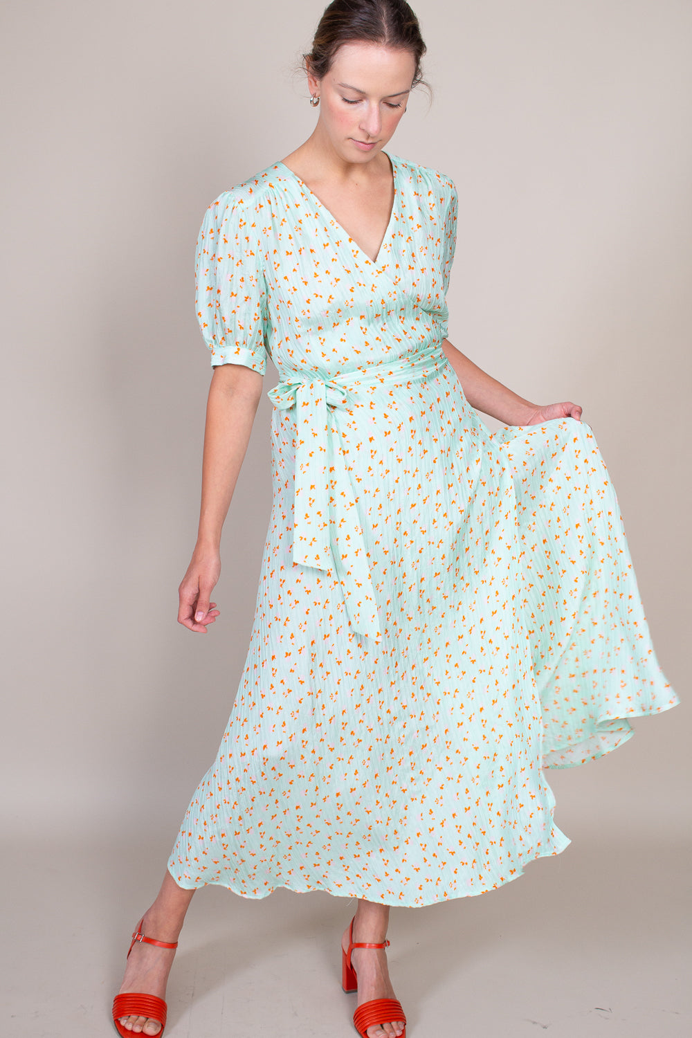Lucia Dress in Mint Floral Gingham