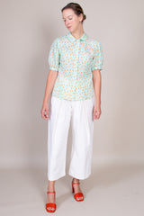 Florence Shirt in Mint Floral Gingham