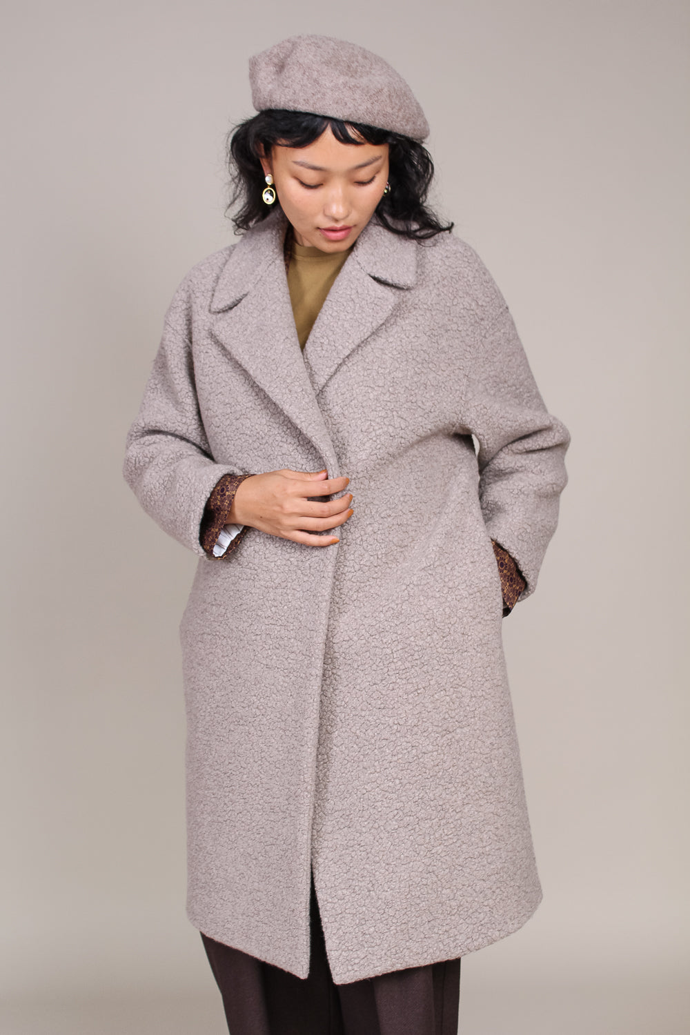 Dropped Shoulder D.b. Boucle Coat in Taupe