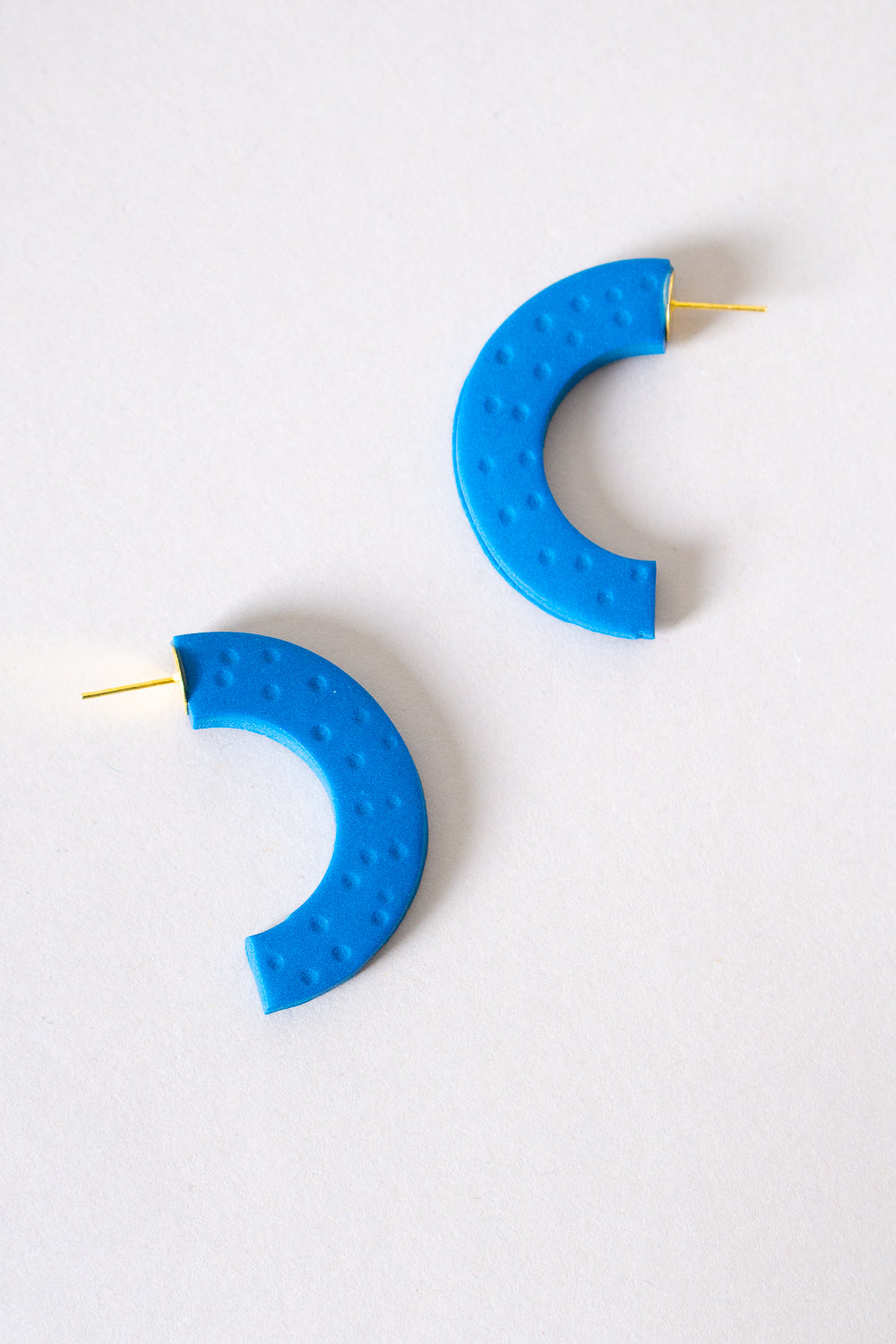 Crescent Hoop Earrings in Teal