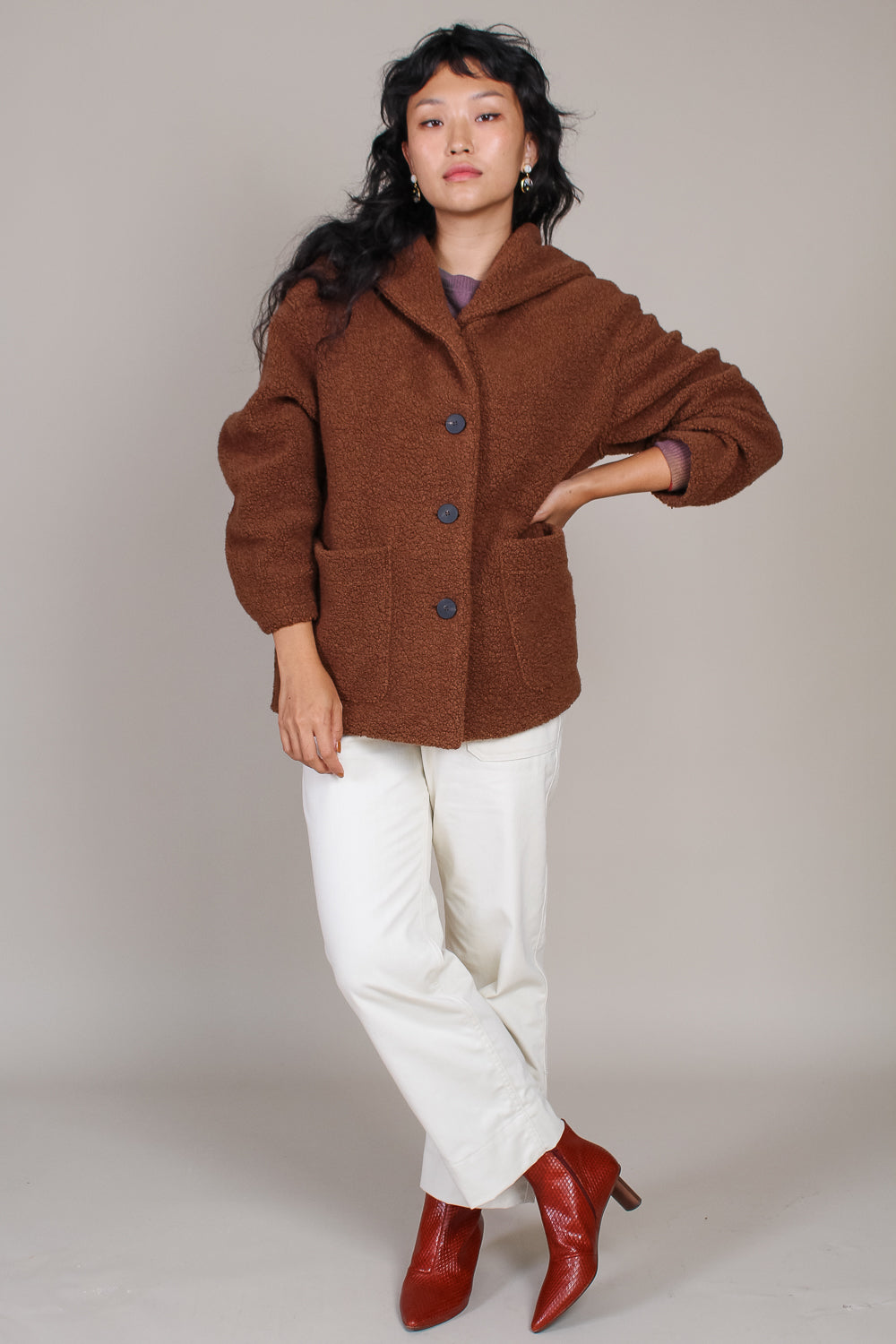 Oversized Hooded Boucle Jacket in Caramel