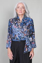 Long Sleeve Wrap Top in Mitchell Print