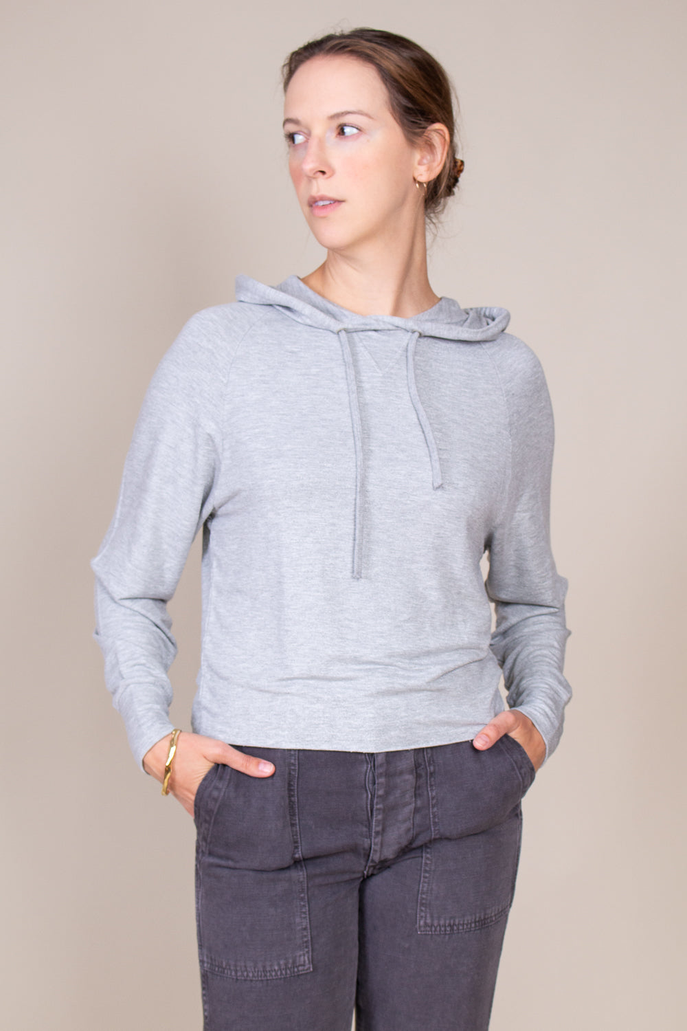 French Terry Hoodie in Metallic Grey
