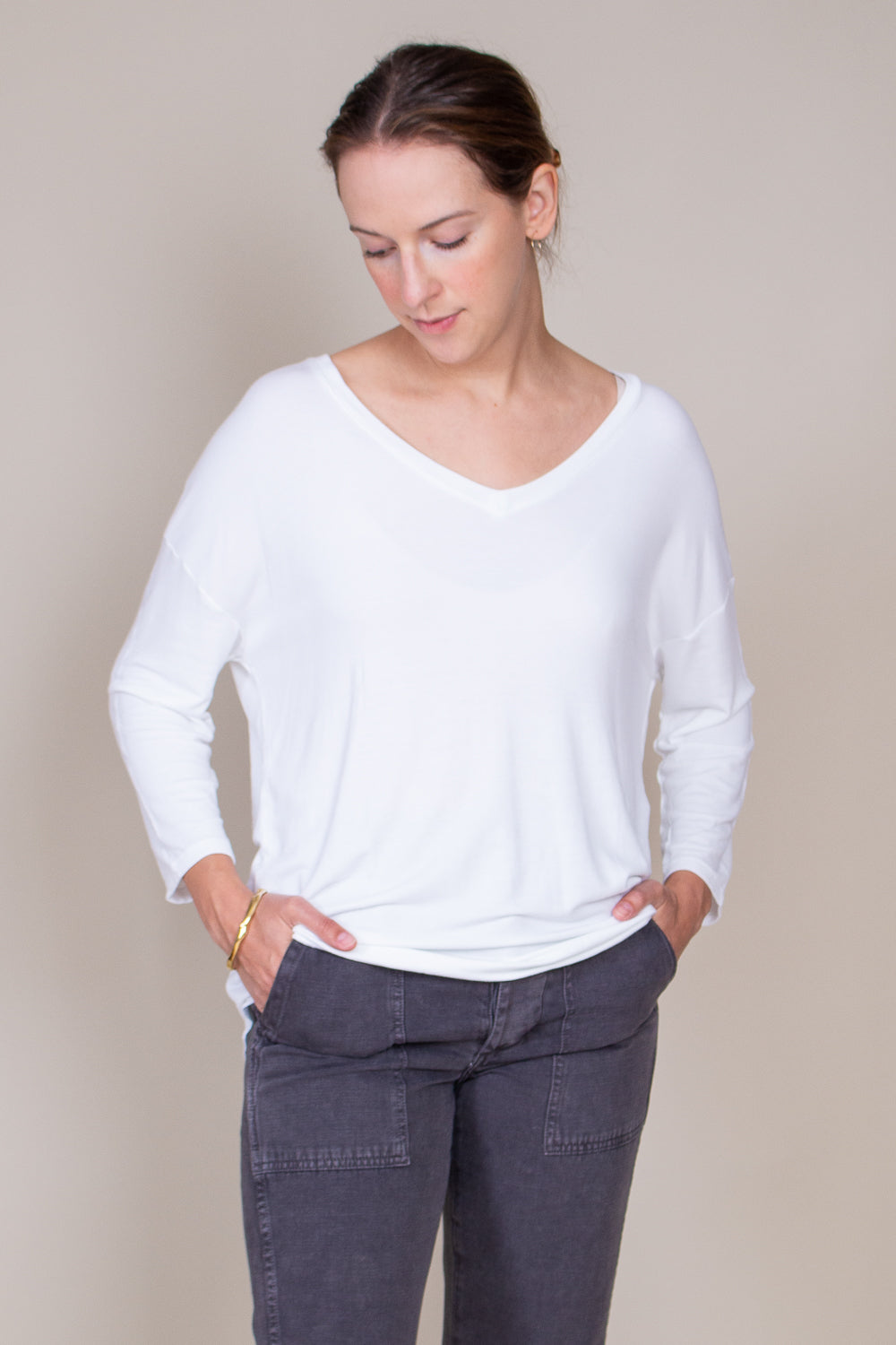 French Terry 3/4 Sleeve V-neck in Blanc