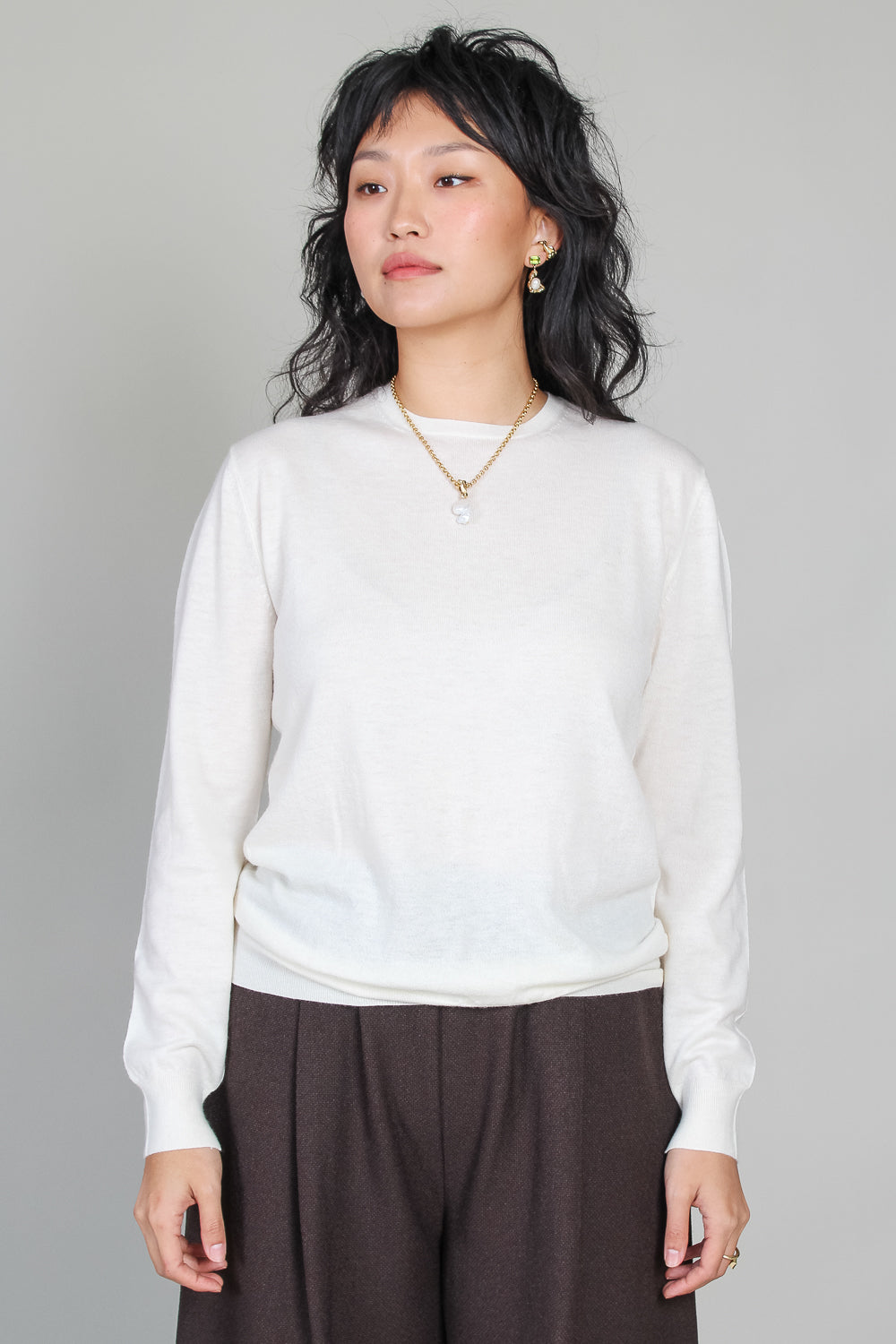 Songe Round Collar Sweater in Ivory