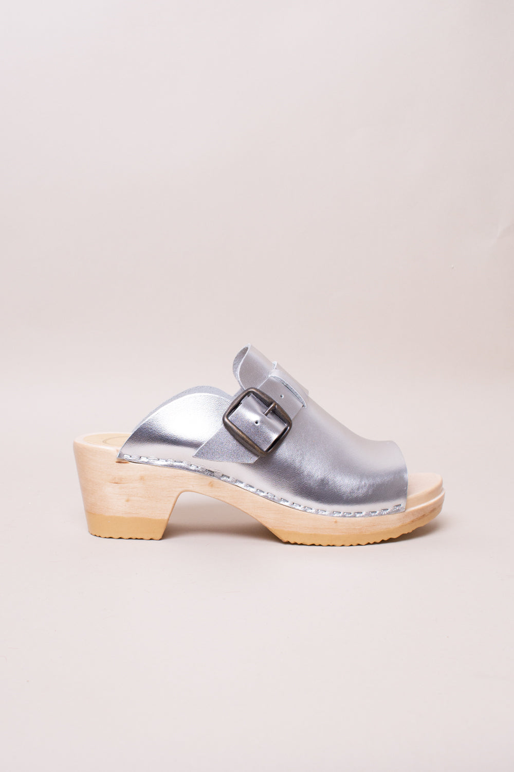 Riley Open Toe Clog on Mid Heel in Silver