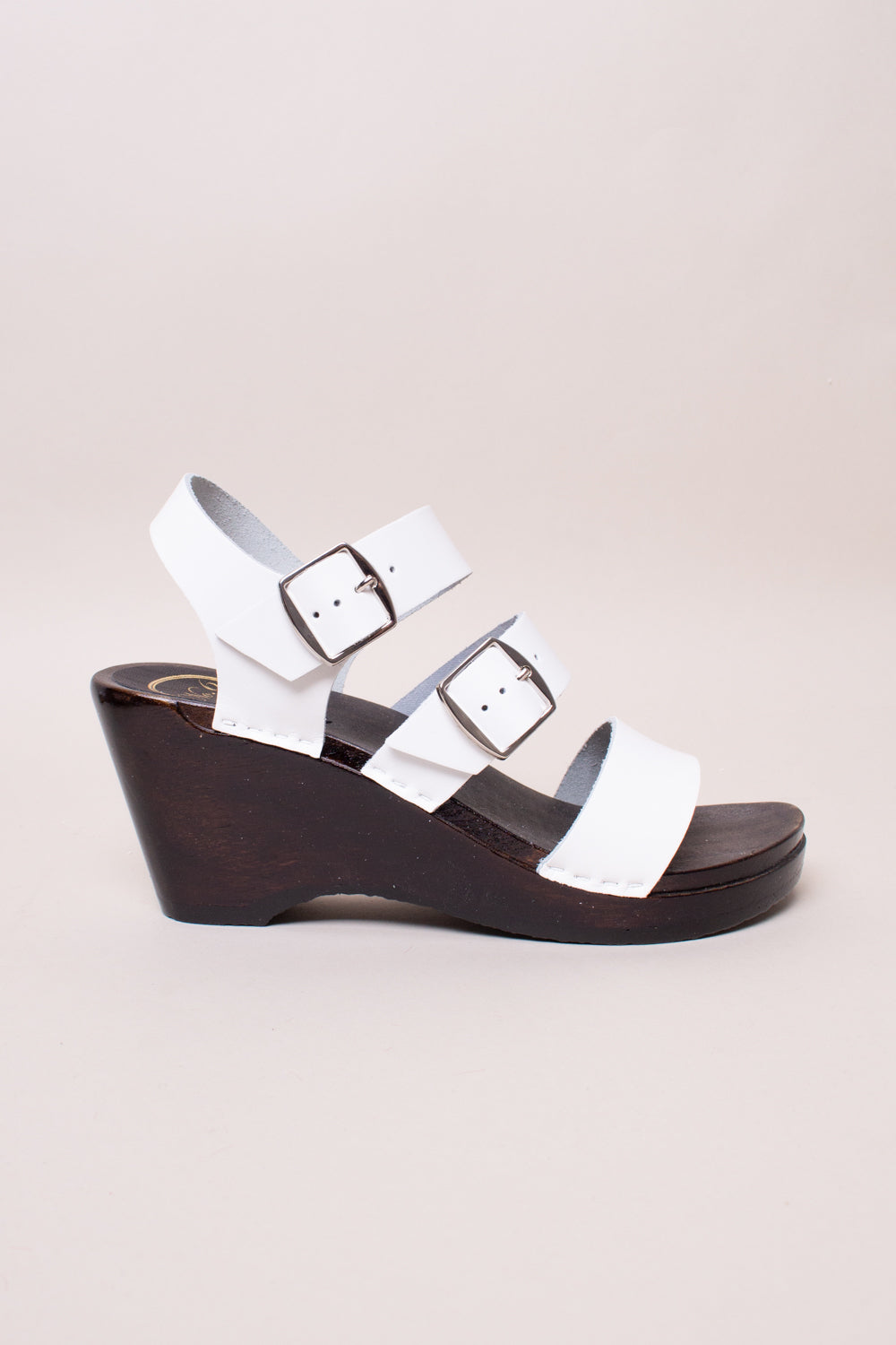 Rosalia Clog on Wedge in White