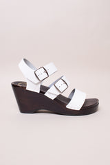 No.6 Rosalia Clog on Wedge in White - Vert & Vogue