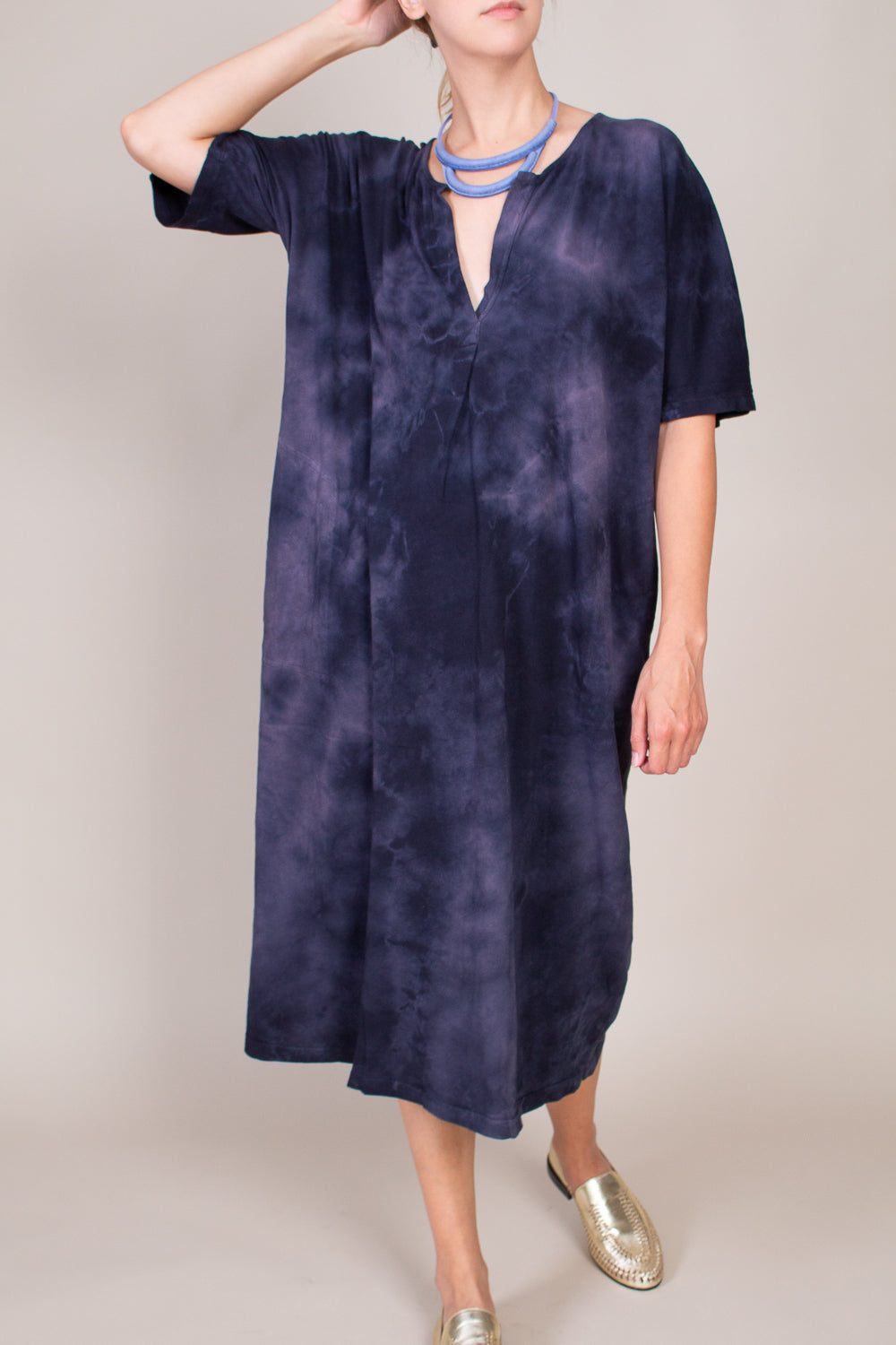 Henley Dress in Black Tie Dye