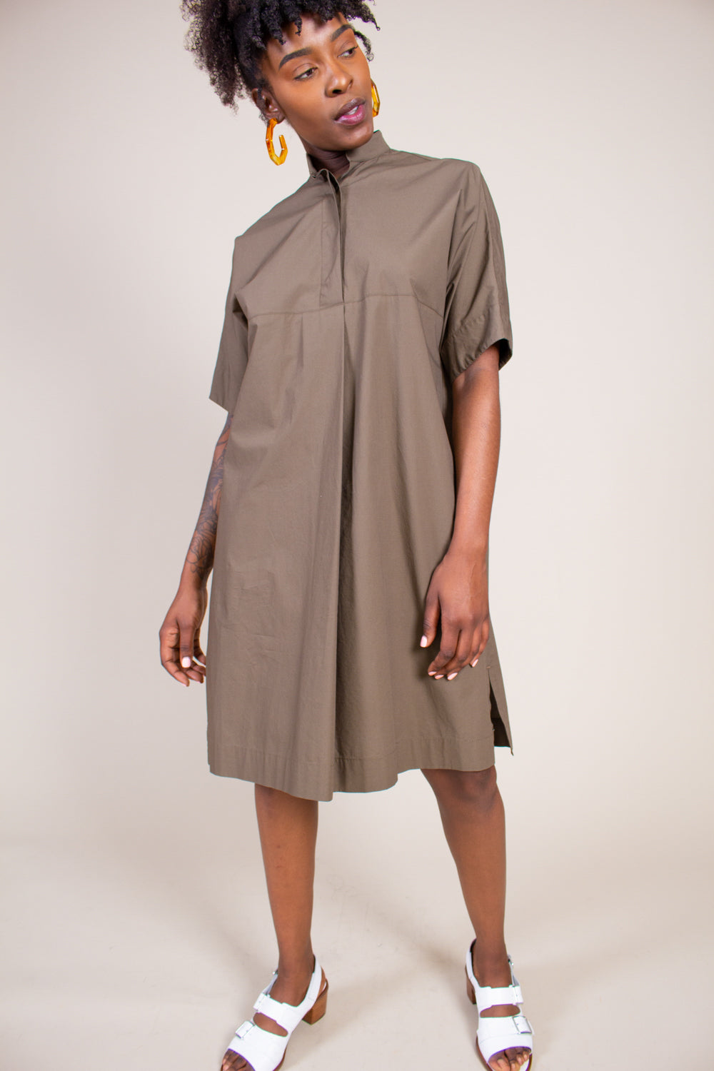 Banded Collar Shirt Dress in Military