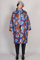 Lewis Coat in Coffee/Blue Ikat