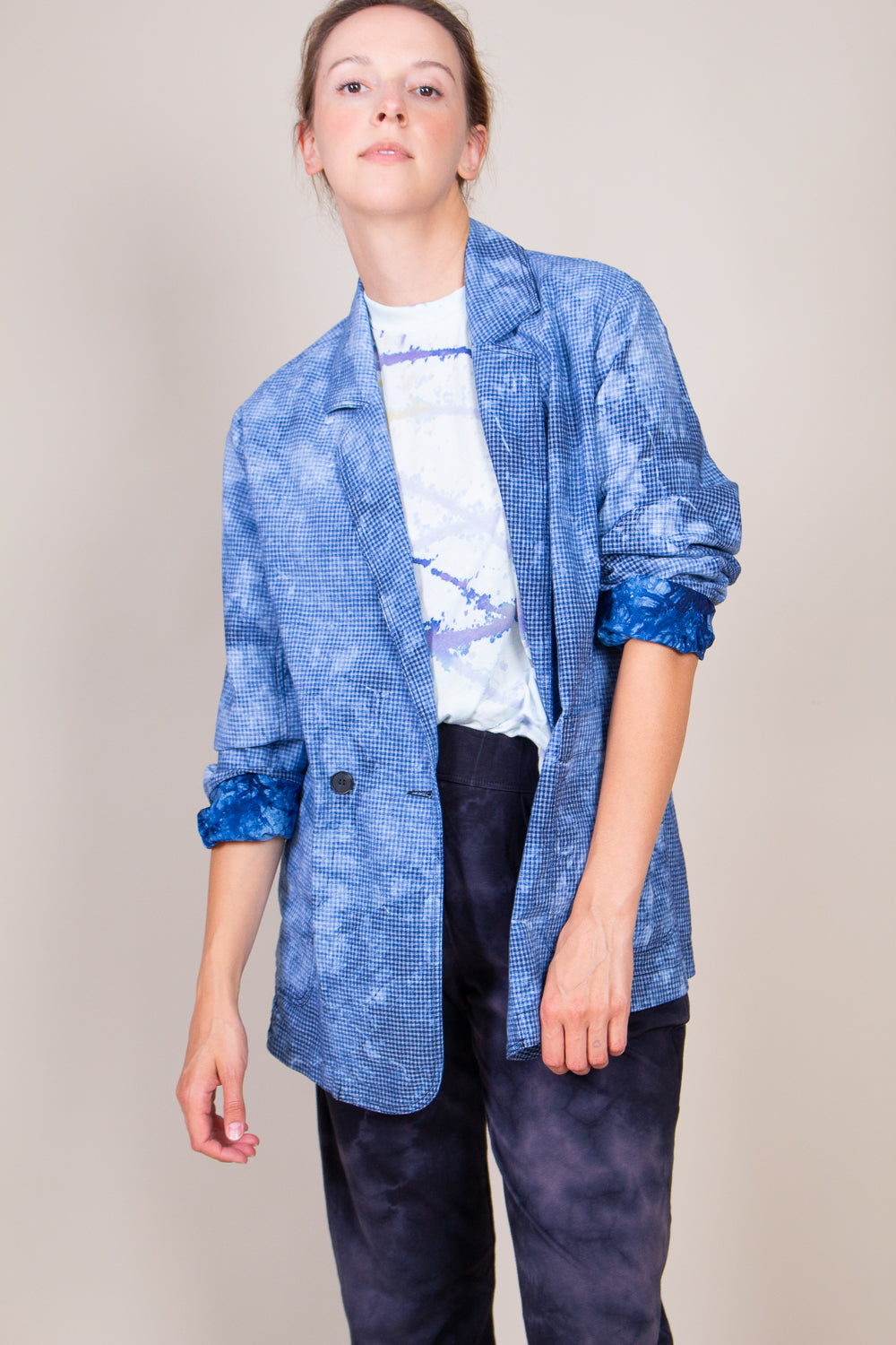 Boyfriend Blazer in Blue Tie Dye