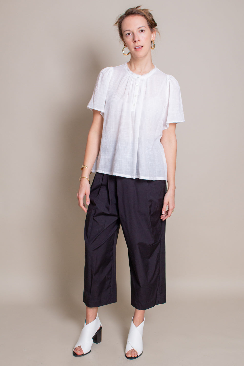 Raquel Allegra Flutter Blouse in Washed White - Vert & Vogue