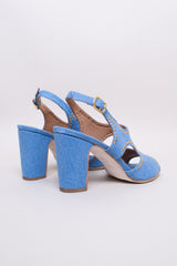 NO.6 Cleo Heel in Denim Studs - Vert & Vogue