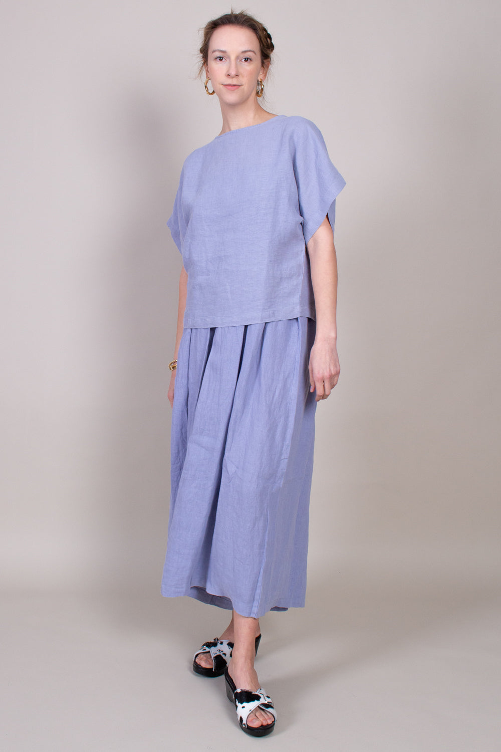 Black Crane Box Top in Lavender - Vert & Vogue
