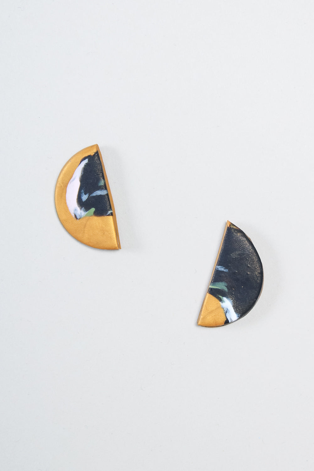 Large Half Moon Earrings in Gold Swirl