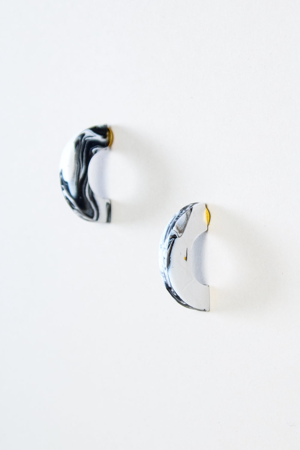 Crescent Earrings in Black and White Marble