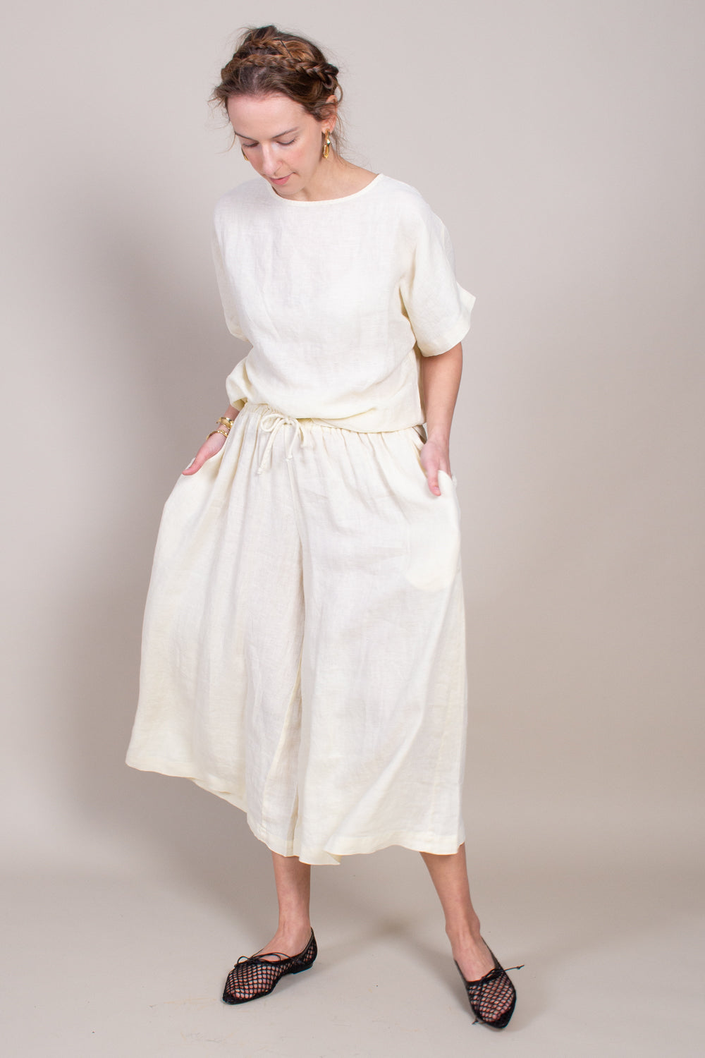 Black Crane Box Top in Cream - Vert & Vogue