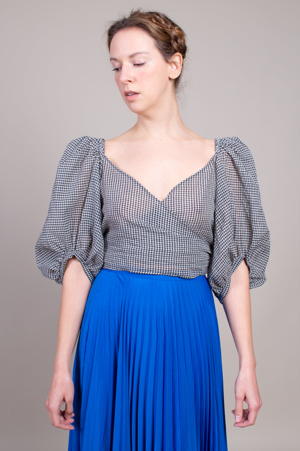 Opal Top in Black Gingham